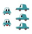 flat cartoon sick car character set vector image