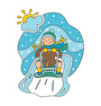 flat girl rolling on a sledge vector image vector image