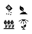 flowers growing simple related icons vector image