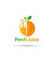 fresh fruits juice shop logo design vector image
