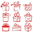 gift boxes icon set sketch vector image vector image