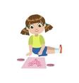 Girl Doing An Application Of A Heart vector image vector image
