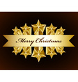 golden merry christmas stars label vector image vector image