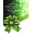 Green Christmas background with bow vector image