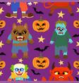 halloween background seamless cartoon vector image vector image