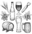 hand drawn beer sketch beer glasses mugs and vector image