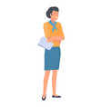 happy woman with blue shawl on neck with report vector image vector image