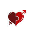 heart puzzle union vector image vector image