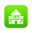 house with broken windows icon digital green vector image