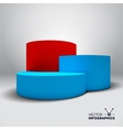 Infographic 3D pedestal with blue and red vector image