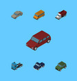 isometric automobile set of autobus truck vector image vector image