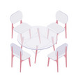 isometric four chairs and transparent round table vector image