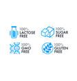 lactose free sugar free gmo free gluten free vector image