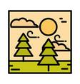 landscape forest trees wind clouds sun sky cartoon vector image