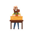 male carpenter character working with carpentry vector image vector image