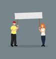 man and girl with poster political event vector image vector image