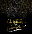 Merry Christmas Festive black background with gold vector image vector image