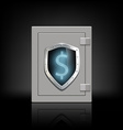 metal safe with a shield which shows the dollar vector image vector image