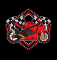 motorcycle racing logo vector image vector image