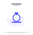 our services ring heart proposal solid glyph icon vector image
