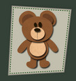 paper cute bear with shadows vector image