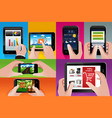 people using tablet and cell phones vector image