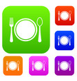 place setting with platespoon and fork set vector image vector image