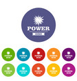 power icons set color vector image vector image