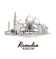 ramadan kareem text with mosque vector image