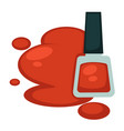 red nail polish in bottle and its sample spot vector image vector image