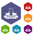 repair company icons hexahedron vector image vector image