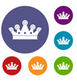 royal crown icons set vector image vector image