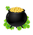 saint patricks day pot and gold with vector image vector image