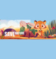 save nature cartoon web banner funny tiger cub vector image vector image