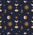 seamless pattern with space objects sun moon and vector image