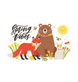 seasonal card template with cute forest animals vector image