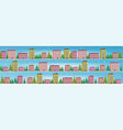 set cute houses in winter season snowy town street vector image