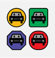 set icons at the car bus vector image vector image