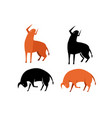 set of bull icon in silhouette and flat vector image