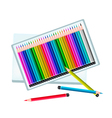 Set of Colored Pencils in A Box vector image vector image