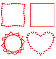 set of cute red love hearts frames for romantic vector image