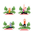 set of woman in yoga poses vector image