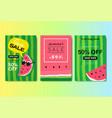 set summer sale watermelon lettering badge design vector image