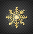 shine golden snowflake on black background vector image