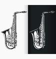 silhouette jazz tenor saxophone music vector image vector image