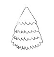 sketch draw christmas tree vector image