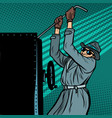 spy breaks into safe vector image vector image