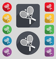 tennis icon sign A set of 12 colored buttons and a vector image vector image