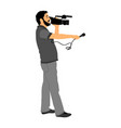 tv reporter interviewed people on street camera vector image