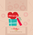 Vintage valentines invitation card with gift vector image vector image